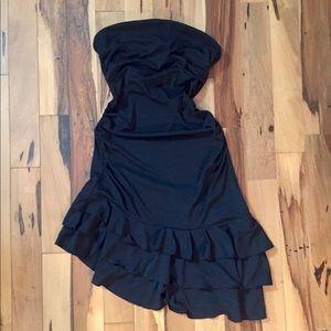 Black Express Asymmetrical Strapless Dress 6 EUC